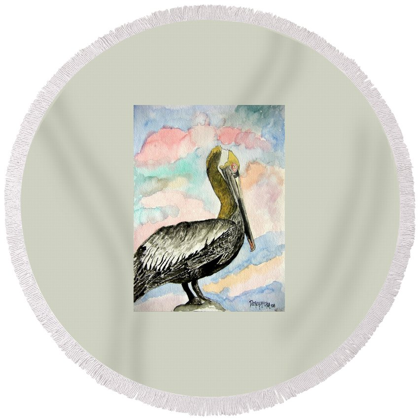 Watercolor Round Beach Towel featuring the painting Pelican 2 by Derek Mccrea