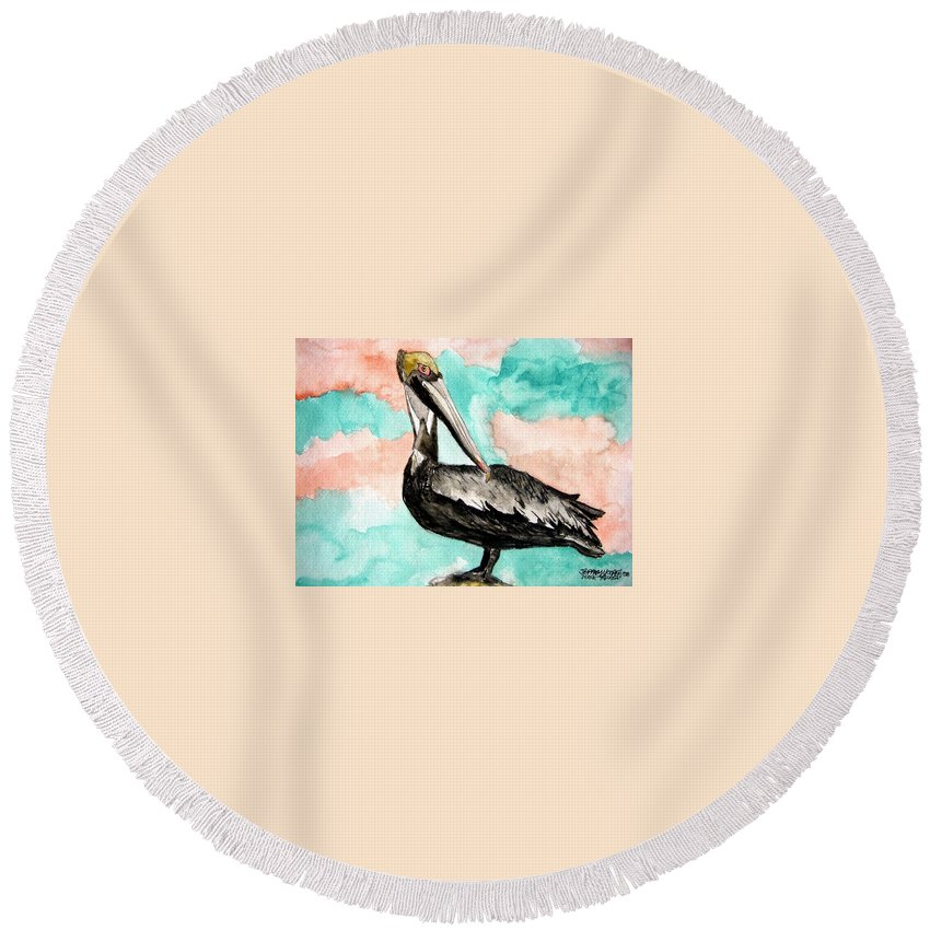 Bird Round Beach Towel featuring the painting Pelican 3 by Derek Mccrea