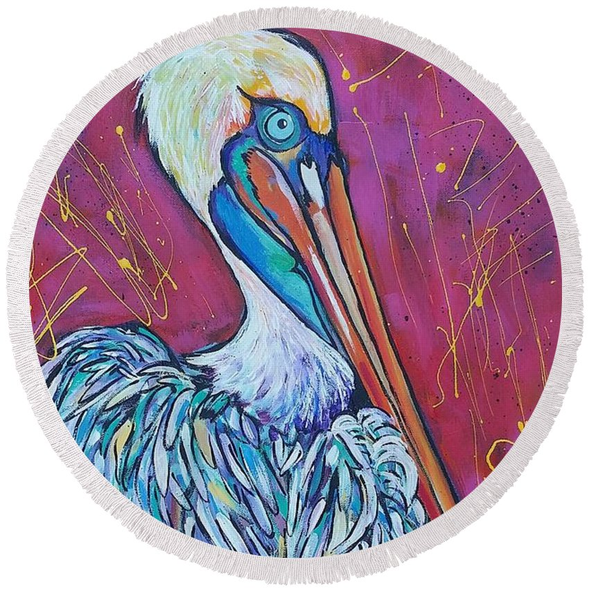 Pelican Round Beach Towel featuring the painting Pelican by Arrin Burgand