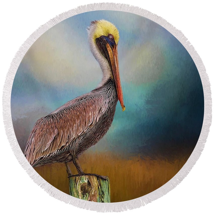 Alicegipsonphotographs Round Beach Towel featuring the photograph Pelican Blues by Alice Gipson
