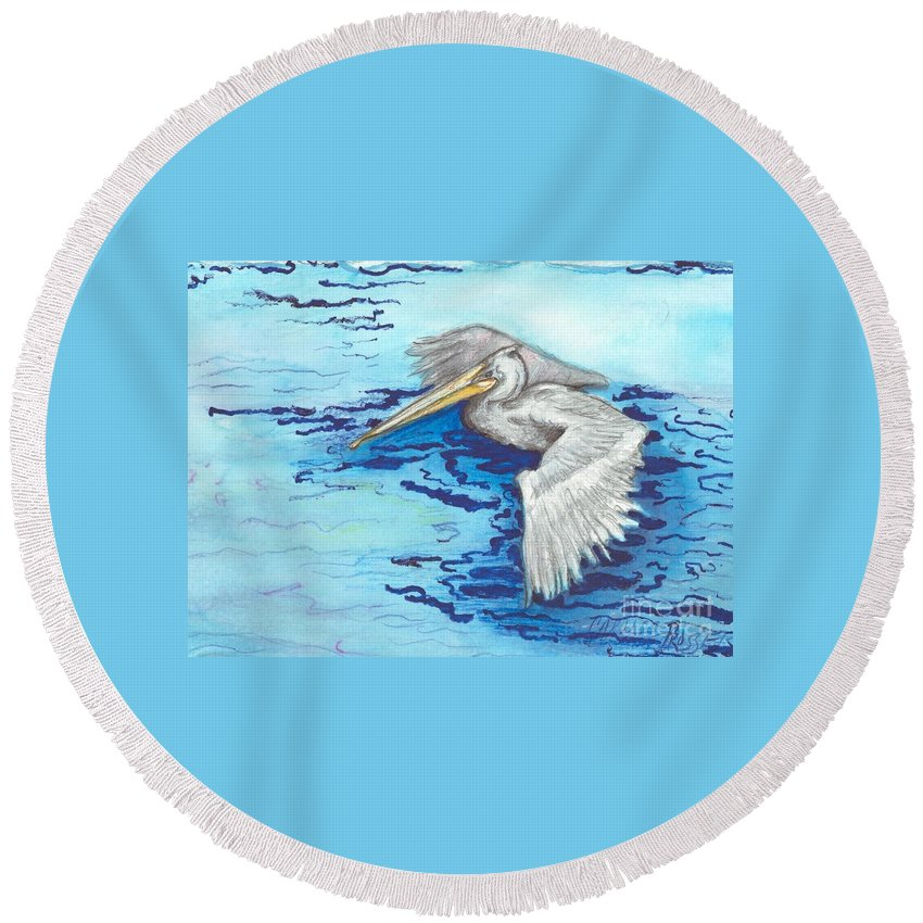 Ocean Round Beach Towel featuring the painting Pelican by Carliss Prosser