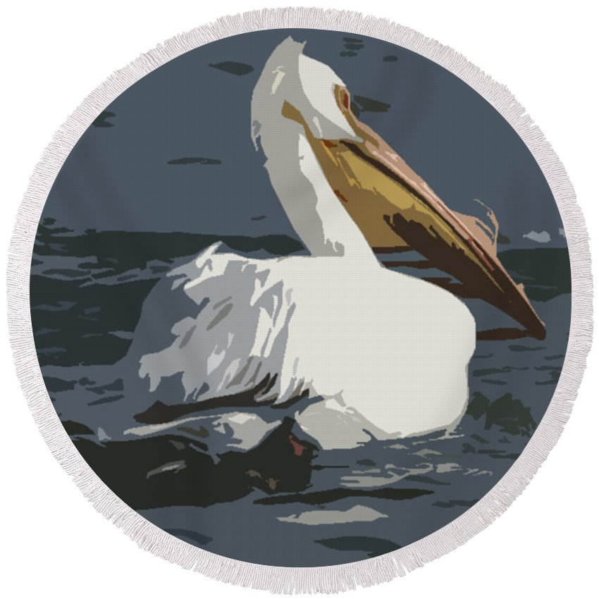 Pelican Round Beach Towel featuring the photograph Pelican Cut Out by Heather Coen