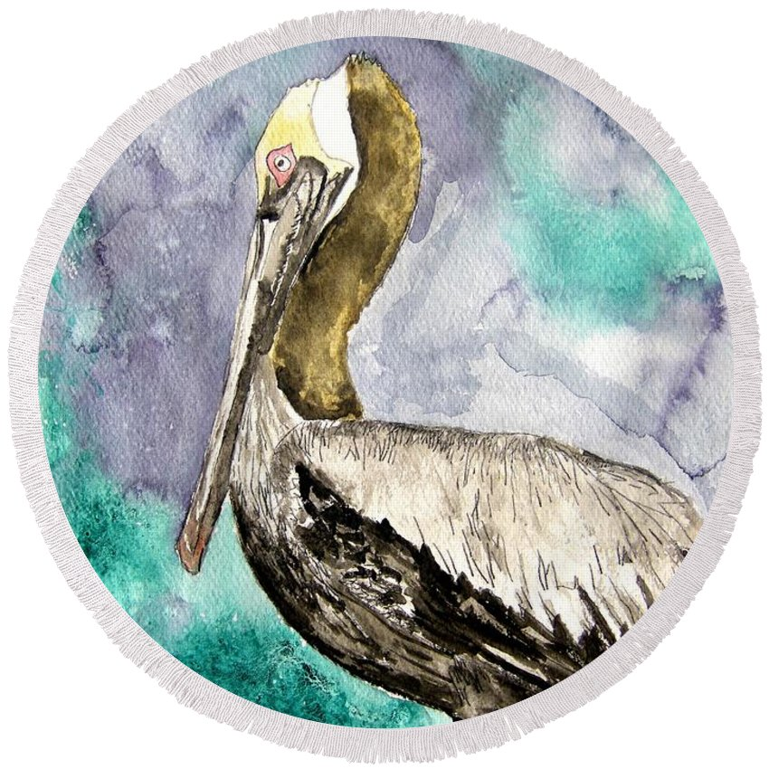 Pelican Round Beach Towel featuring the painting Pelican by Derek Mccrea