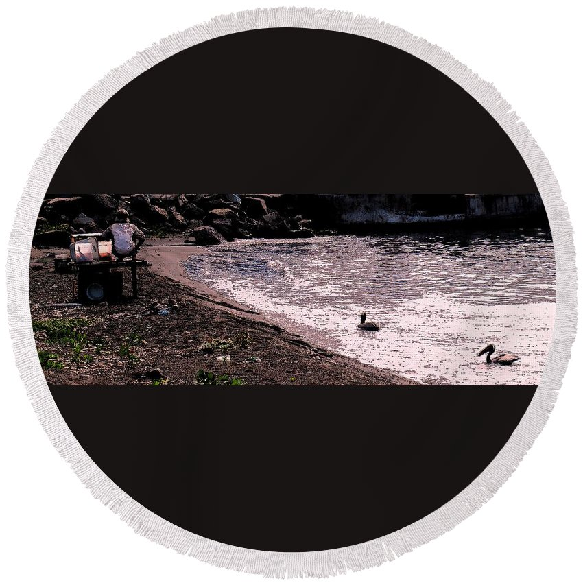 Pelican Round Beach Towel featuring the photograph Pelican Lunch by Ian MacDonald