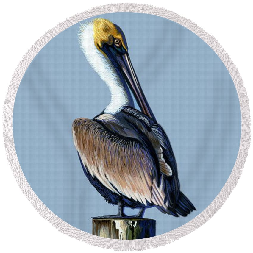 Pelican Round Beach Towel featuring the painting Pelican by Michael Nowak