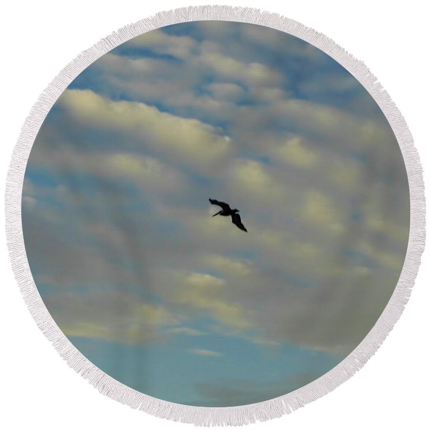 Bird Round Beach Towel featuring the photograph Pelican Soaring At Sunset by D Hackett