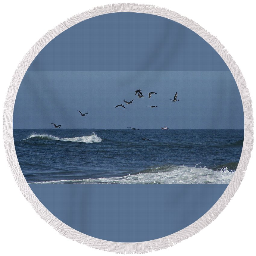 Pelicans Round Beach Towel featuring the photograph Pelicans Over The Atlantic by Teresa Mucha