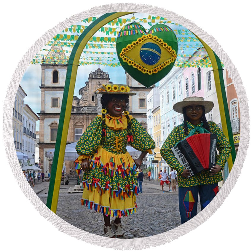 Pelourinho Round Beach Towel featuring the photograph Pelourinho - Historic Center Of Salvador Bahia by Ralf Broskvar