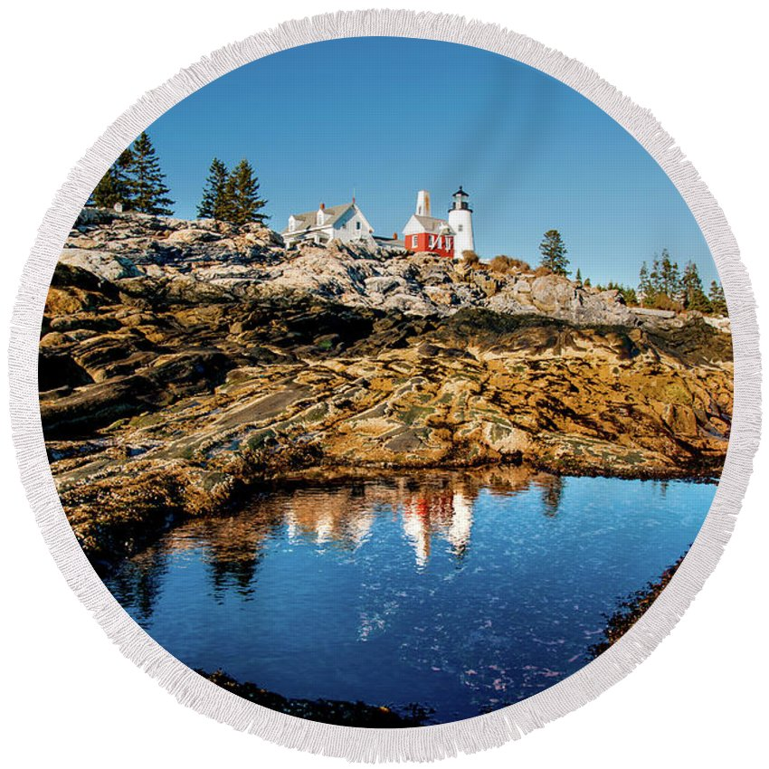 Pemaquid Lighthouse Round Beach Towel featuring the photograph Pemaquid Reflection by Greg Fortier