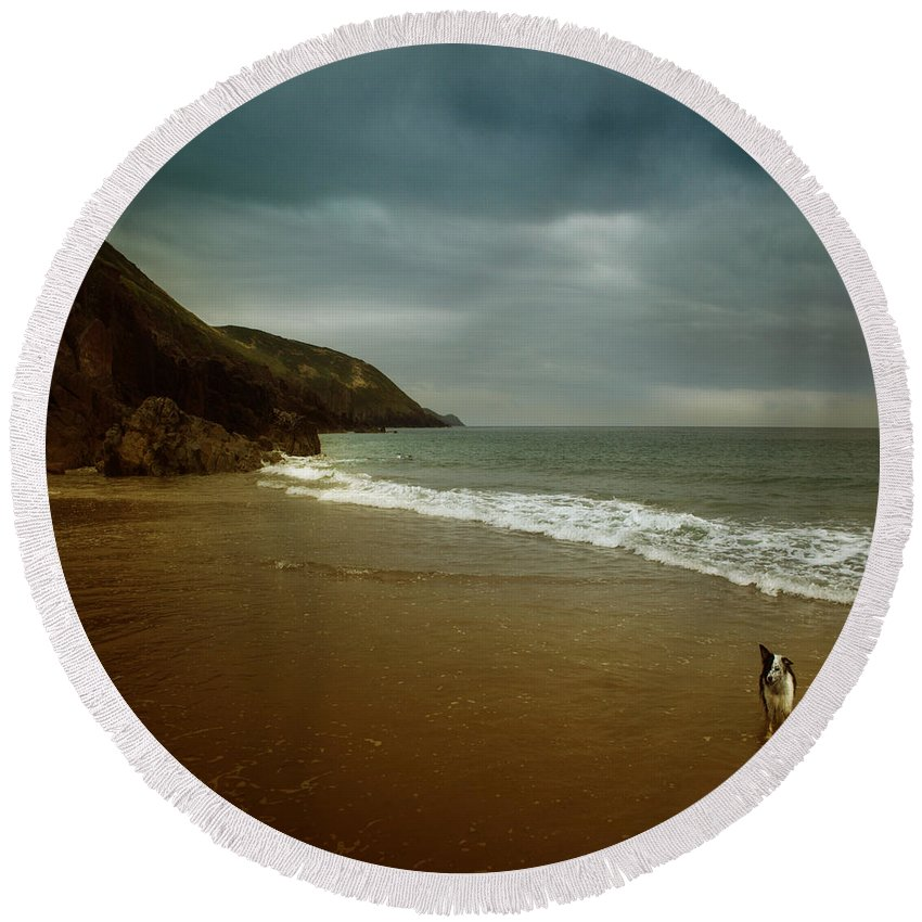 Beach Round Beach Towel featuring the photograph Pembrokeshire by Angel Ciesniarska