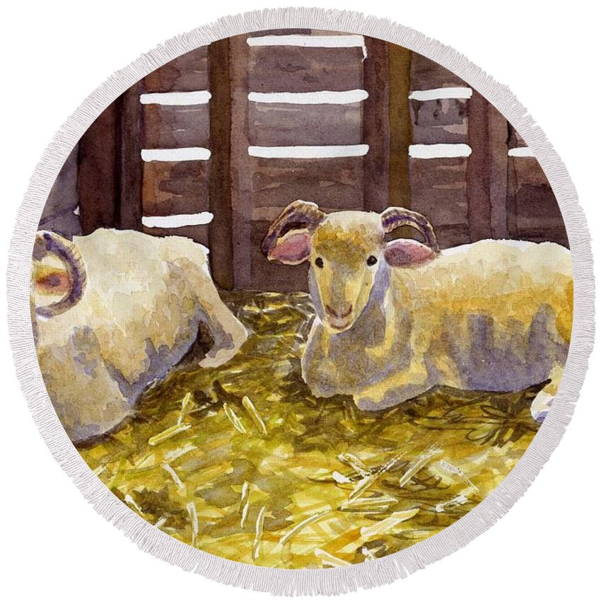 Sheep Round Beach Towel featuring the painting Pen Pals by Sharon E Allen