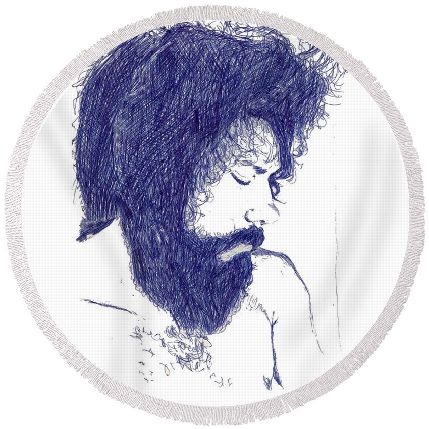 Portrait Round Beach Towel featuring the digital art Pen Portrait by Ron Bissett