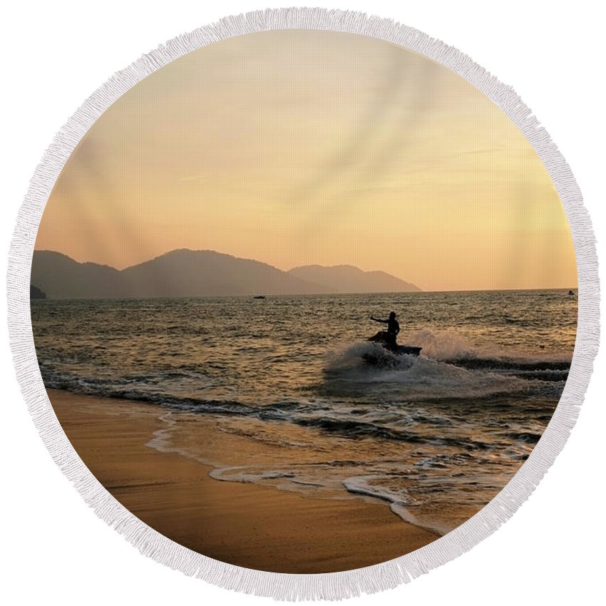 Penang Round Beach Towel featuring the photograph Penang Sunset by Nancie McKinnon