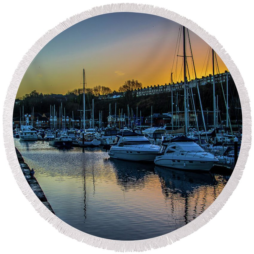 Penarth Harbour Round Beach Towel featuring the photograph Penarth Harbour In Wales by Stephen Jenkins