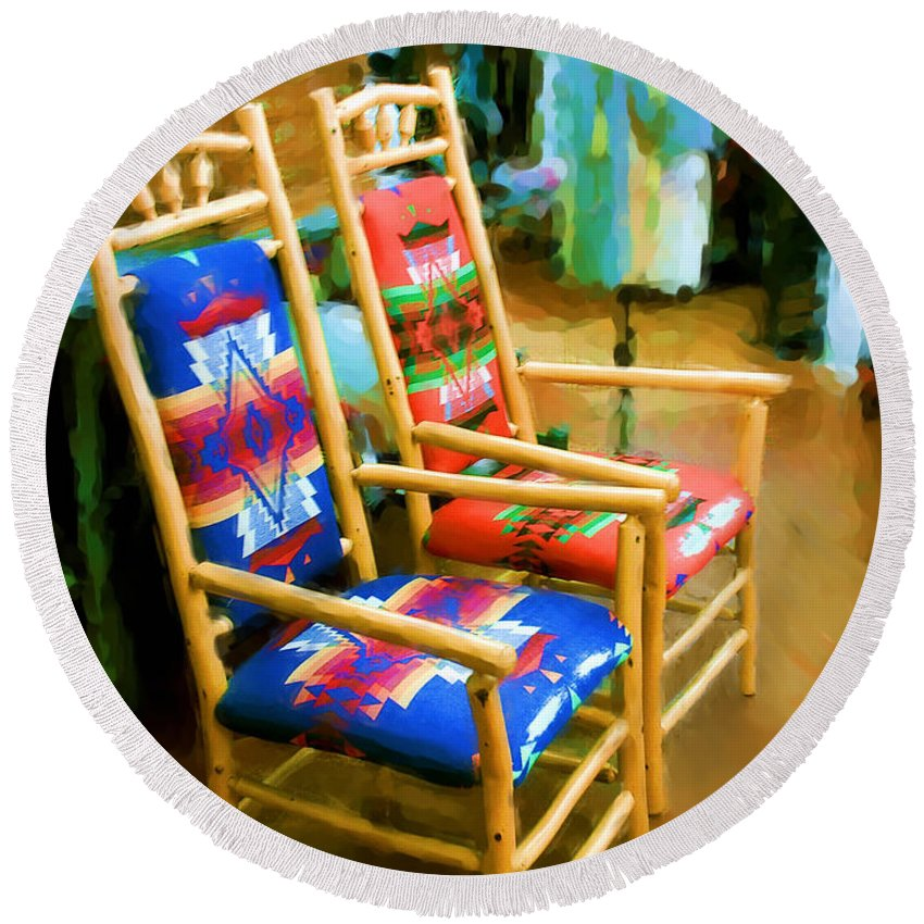 Pendleton Chairs Round Beach Towel featuring the digital art Pendleton Chairs by Methune Hively