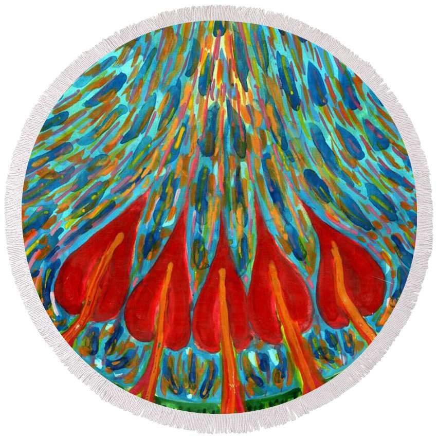 Colour Round Beach Towel featuring the painting Penetration by Wojtek Kowalski