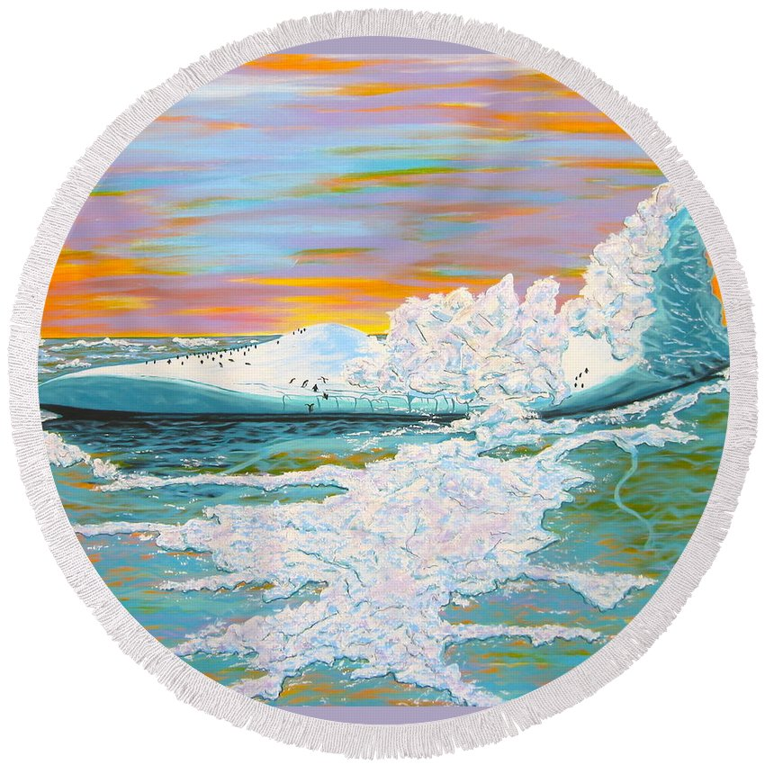 Ice Round Beach Towel featuring the painting The Last Iceberg by V Boge