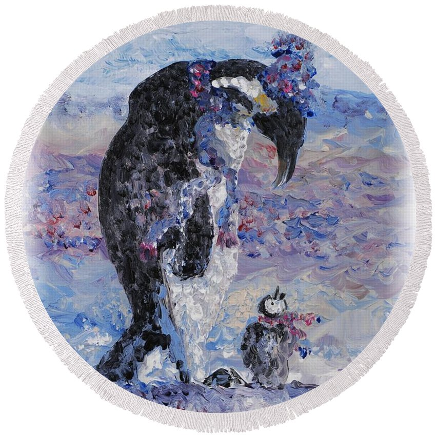 Penguins Winter Snow Blue Purple White Round Beach Towel featuring the painting Penguin Love by Nadine Rippelmeyer