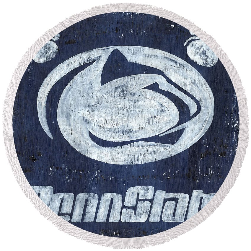 Penn State Round Beach Towel featuring the painting Penn State by Debbie DeWitt