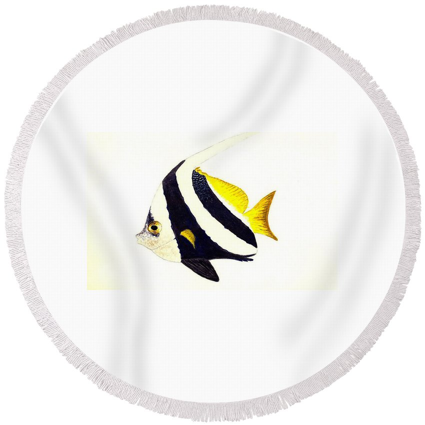 Fish Round Beach Towel featuring the painting Pennant Fish by Michael Vigliotti