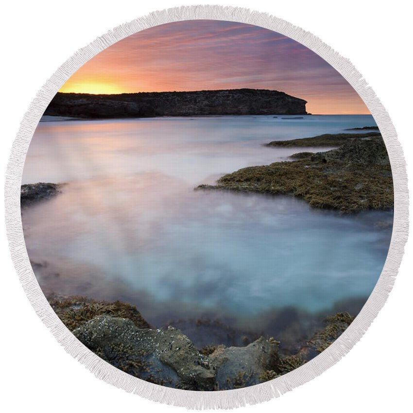 Dawn Round Beach Towel featuring the photograph Pennington Dawn by Mike Dawson
