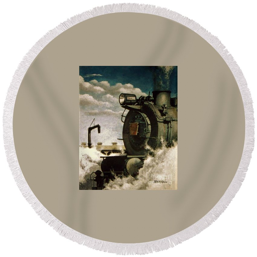 Pennsylvania Railroad Prr Train Painting Railroad Maryland And Pennsylvania Autumn Fall Colors Steam Engine Round Beach Towel featuring the painting Pennsy M1 by David Mittner