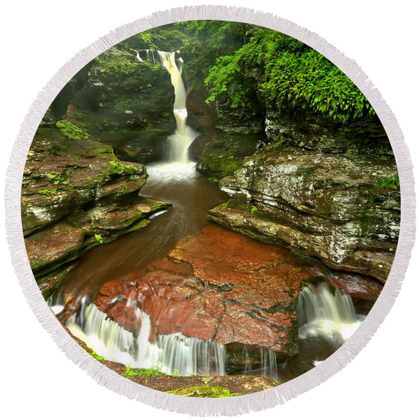 Adams Falls Round Beach Towel featuring the photograph Pennsylvania Red Rock Falls by Adam Jewell