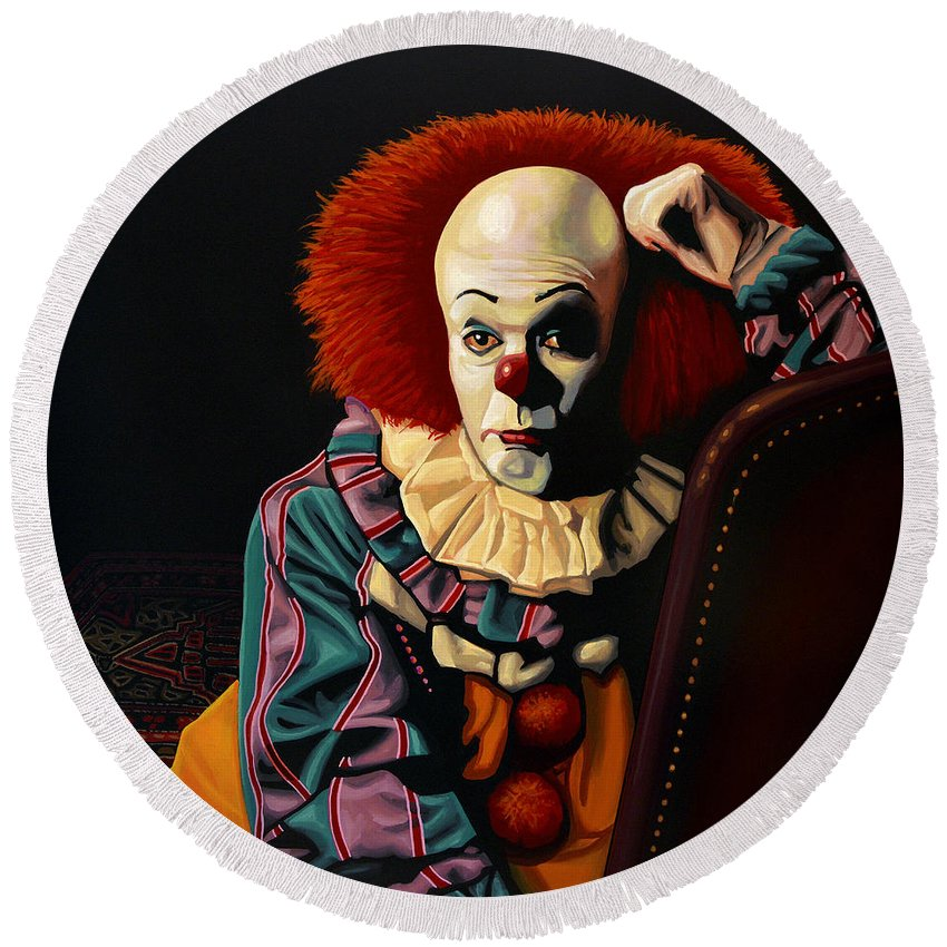Pennywise Round Beach Towel featuring the painting Pennywise by Paul Meijering