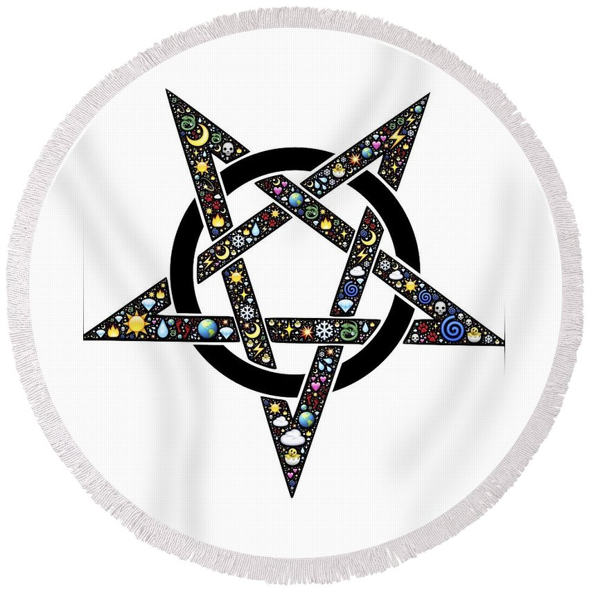 Witchcraft Round Beach Towel featuring the digital art Pentacle by Frederick Holiday