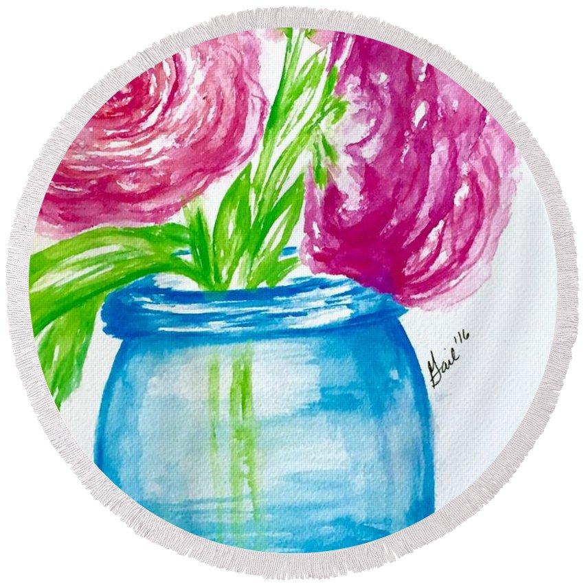 Peonies Round Beach Towel featuring the painting Peonies Mason Jar by Gail Nandlal