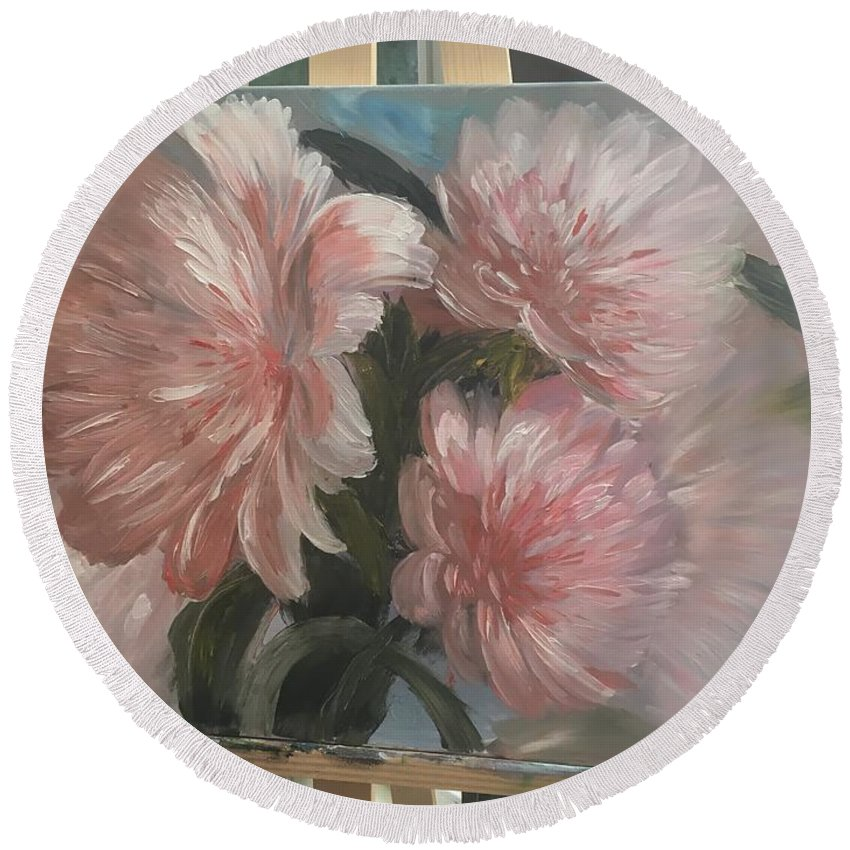 Flowers Round Beach Towel featuring the painting Peonies by Oksana Voloshyn