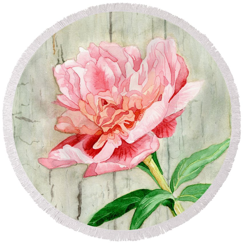 Pink Round Beach Towel featuring the painting Peony At The Fence by Audrey Jeanne Roberts