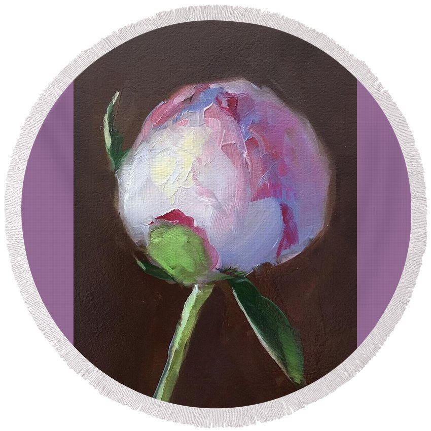 Flower Round Beach Towel featuring the painting Peony Bud by Gary Bruton