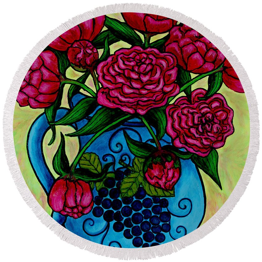 Peonies Round Beach Towel featuring the painting Peony Party by Lisa Lorenz