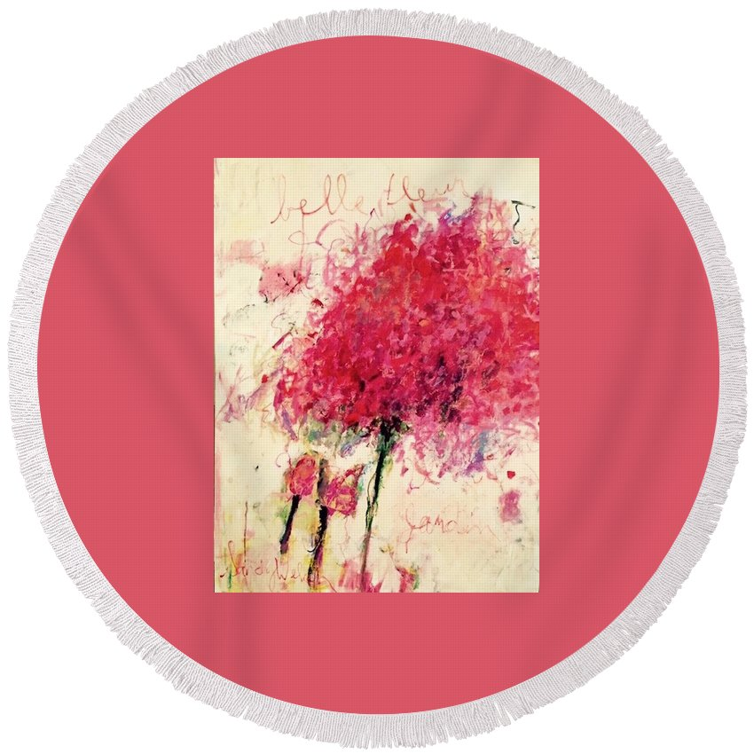 Pink Round Beach Towel featuring the painting Peony by Sandy Welch