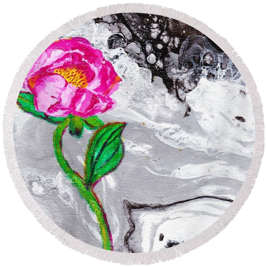 Flower Round Beach Towel featuring the painting Peony by Stormy Miller
