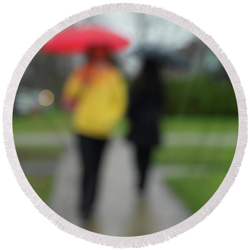 Rainy Day Round Beach Towel featuring the photograph People In The Rain by Maxim Images Prints