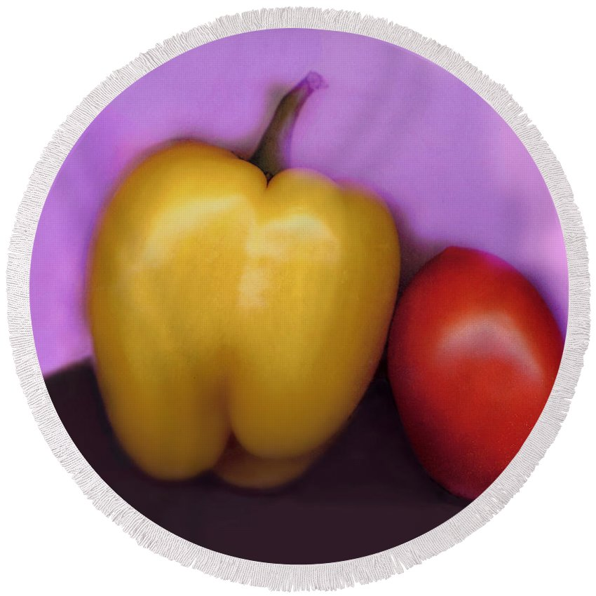 Pepper Round Beach Towel featuring the digital art Pepper And Tomato by Madeline Ellis