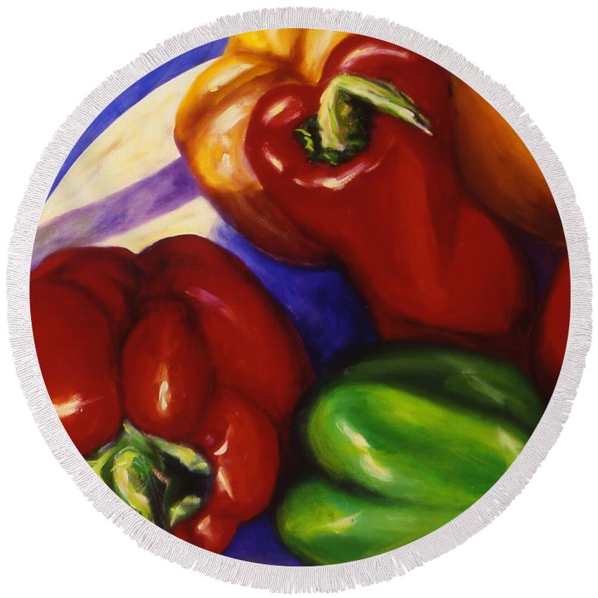 Still Life Peppers Round Beach Towel featuring the painting Peppers In The Round by Shannon Grissom