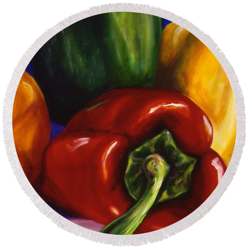 Still Life Round Beach Towel featuring the painting Peppers On Peppers by Shannon Grissom