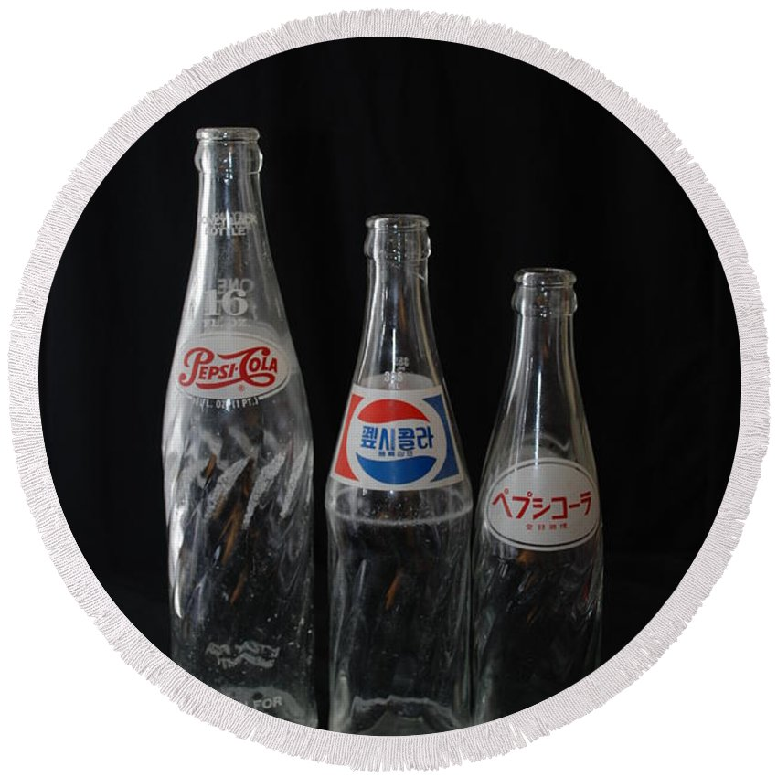 Pepsi Cola Round Beach Towel featuring the photograph Pepsi Bottles by Rob Hans