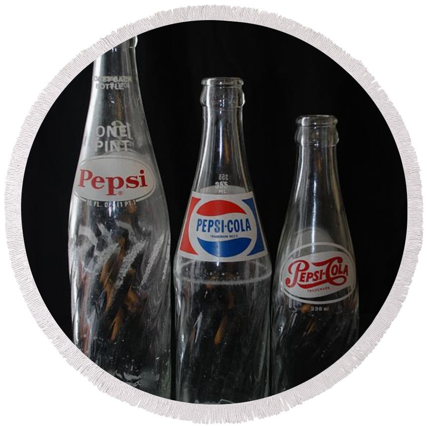 Pepsi Cola Round Beach Towel featuring the photograph Pepsi Cola Bottles by Rob Hans