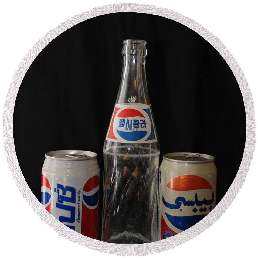 Korean Round Beach Towel featuring the photograph Pepsi From Around The World by Rob Hans