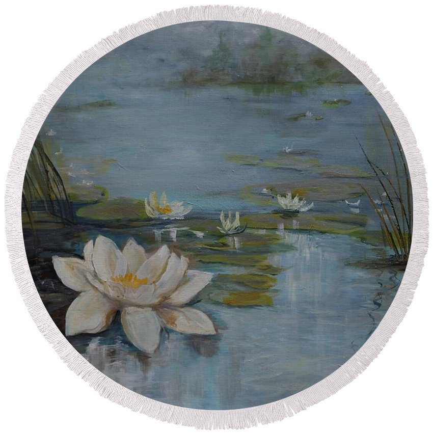 Water Lily Round Beach Towel featuring the painting Perfect Lotus - Lmj by Ruth Kamenev