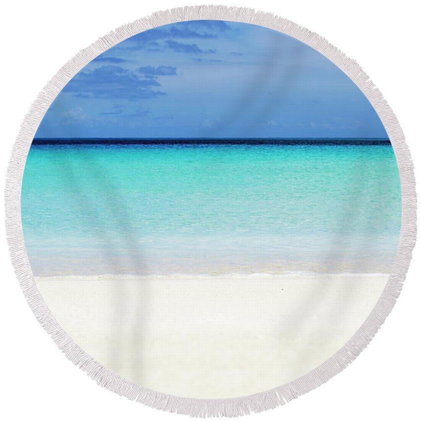 Bank Round Beach Towel featuring the photograph Perfect Postcard Maldivian Beach Empty by Srdjan Kirtic