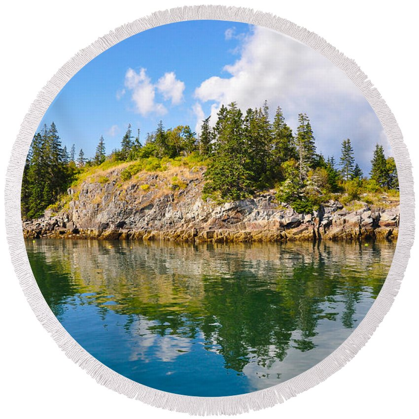 Maine Round Beach Towel featuring the photograph Perfect Reflection by Anna Serebryanik