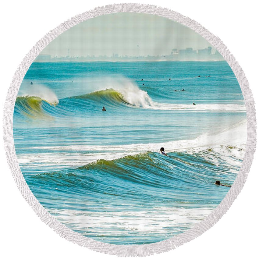 Cocoa Round Beach Towel featuring the photograph Perfect Surf by David Hart
