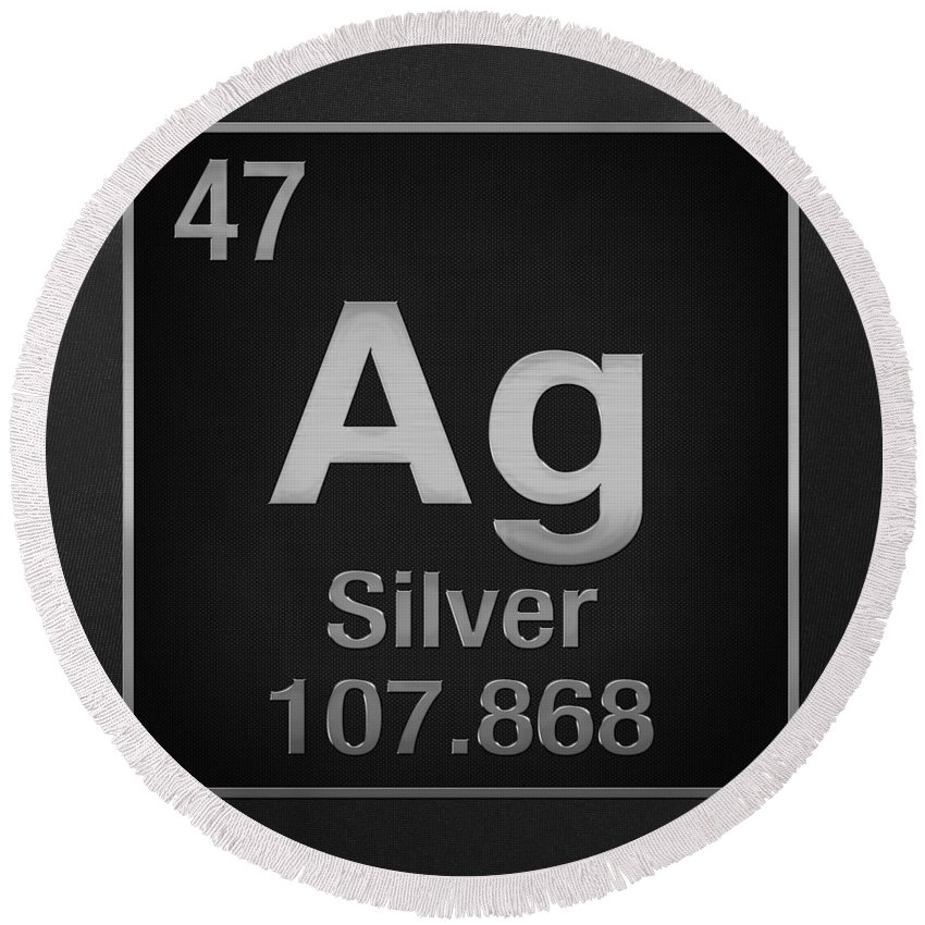 Periodic Table Of Elements Silver Ag Silver On Black Round
