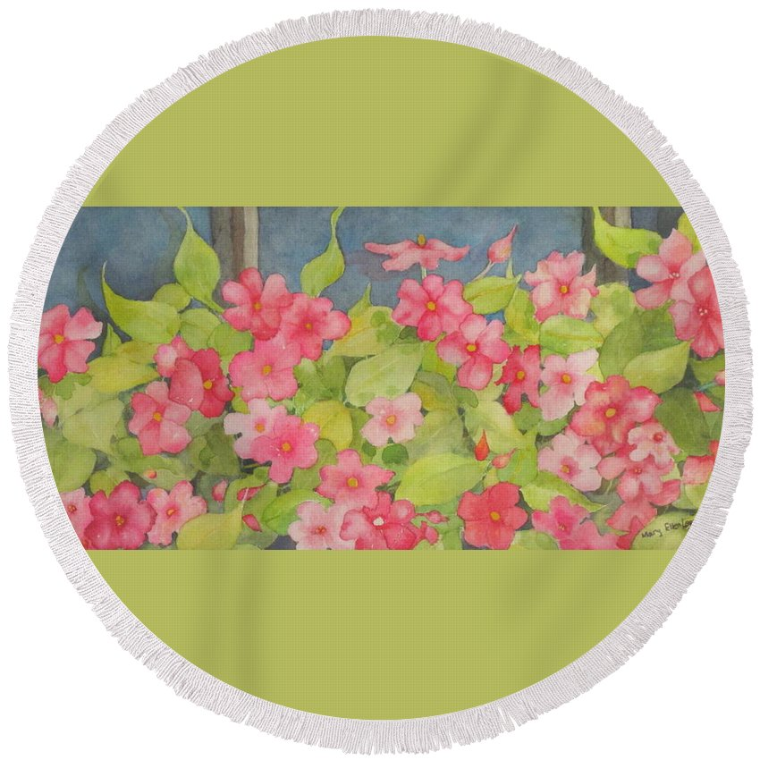 Flowers Round Beach Towel featuring the painting Perky by Mary Ellen Mueller Legault