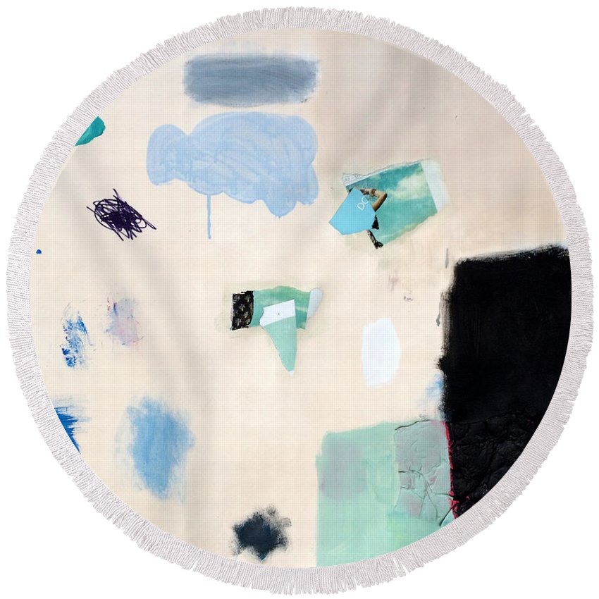 Abstract Art Round Beach Towel featuring the mixed media Permutation by Diane Desrochers